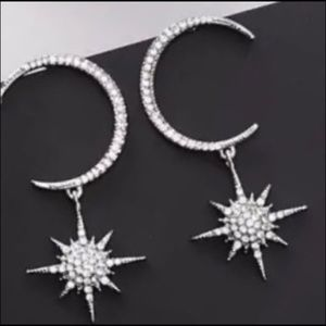 Jewelry - 🌙💫Boho Glam Crescent Star Crystal Earrings!  New